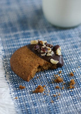 Hazelnut Butter Cookies Dipped in Chocolate | SmartLittleCookie.net