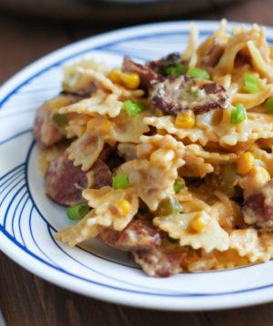 Creamy Bow Tie Pasta with Smoked Sausage | SmartLittleCookie.net