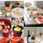 Collage of photos from a Galentines party.