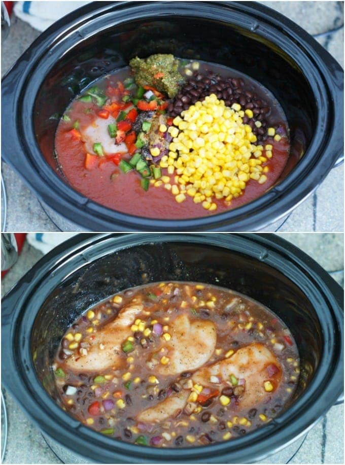 Two step by step photos to show hot to make the taco chicken.