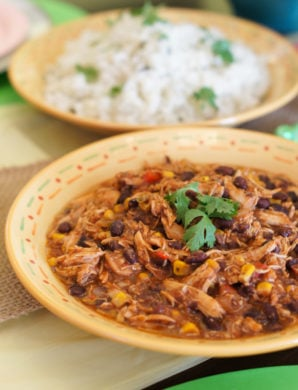 Crock-Pot Southwest Chicken Chili and Cilantro Lime Rice | SmartLittleCookie.net