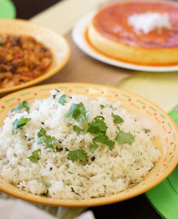 Close up of cilantro lime rice served on a plate.