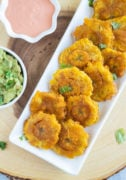 Tostones on a white serving plate