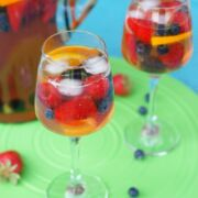 Sangria poured into two wine glasses.