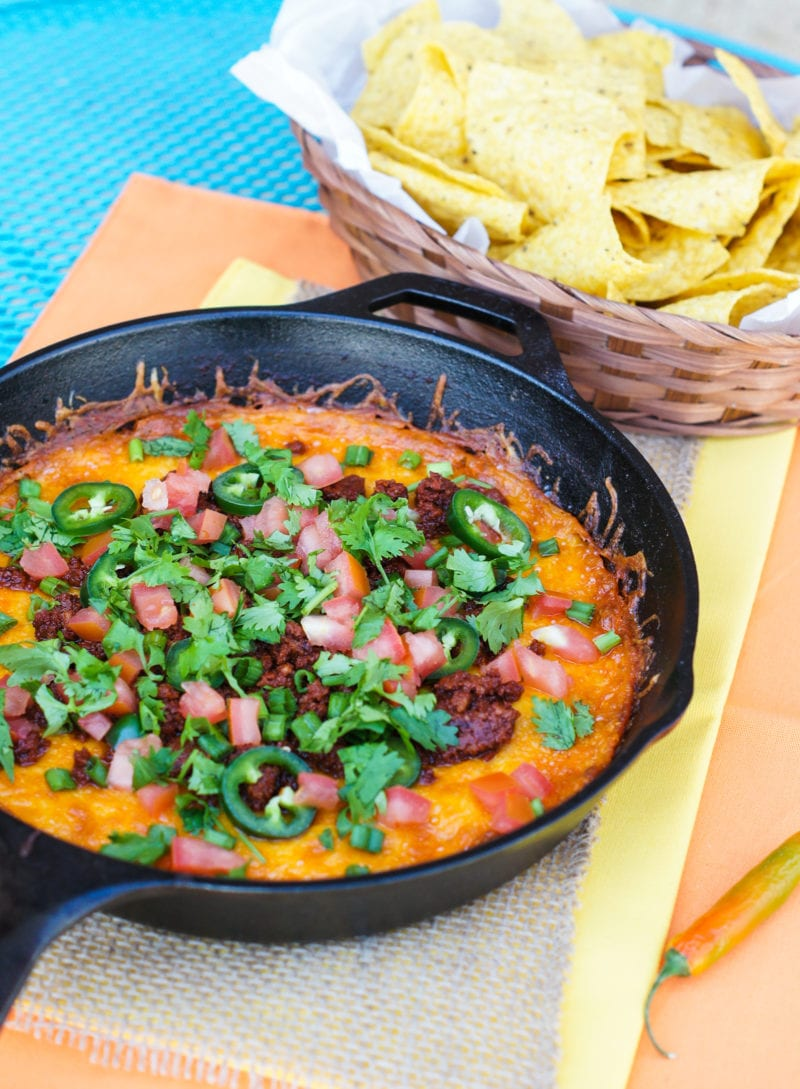 Queso Fundido with Chorizo in a skillet