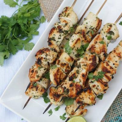 Grilled Garlic Cilantro Chicken Skewers