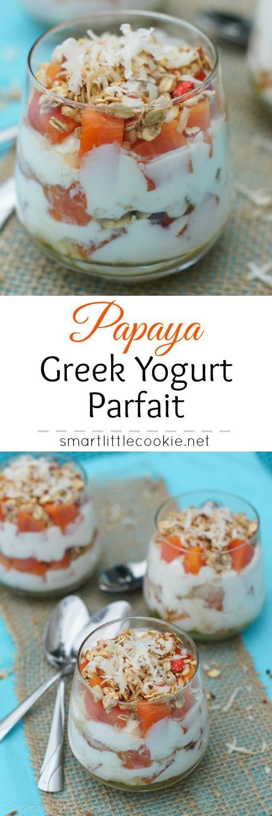 Papaya Greek Yogurt Parfait | smartlittlecookie.net