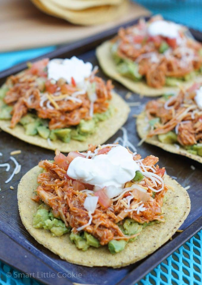 Chipotle Chicken Tostadas | smartlittlecookie.net