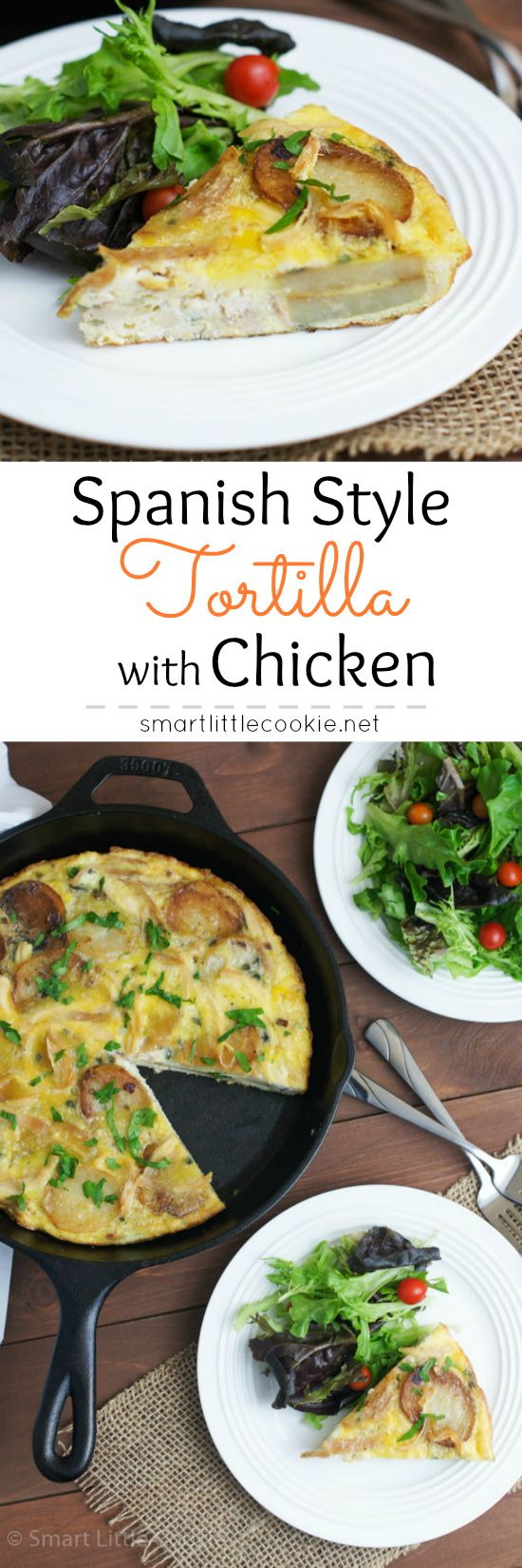 Pinterest graphic. Spanish style tortilla with text overlay.