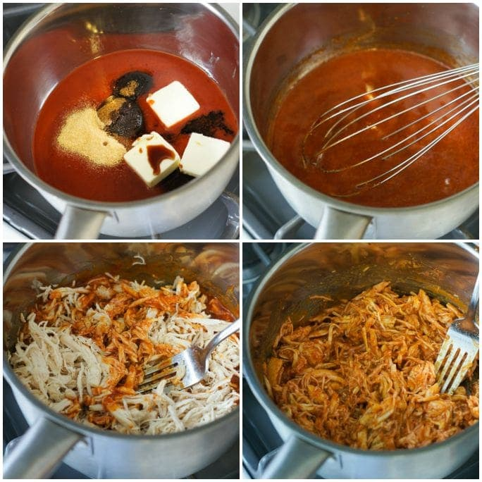Four step by step photos to show how to make the buffalo chicken.