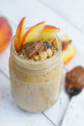 Sweet and creamy, this Peach and Dulce de Leche Overnight Oats is a delicious make ahead breakfast for busy mornings.