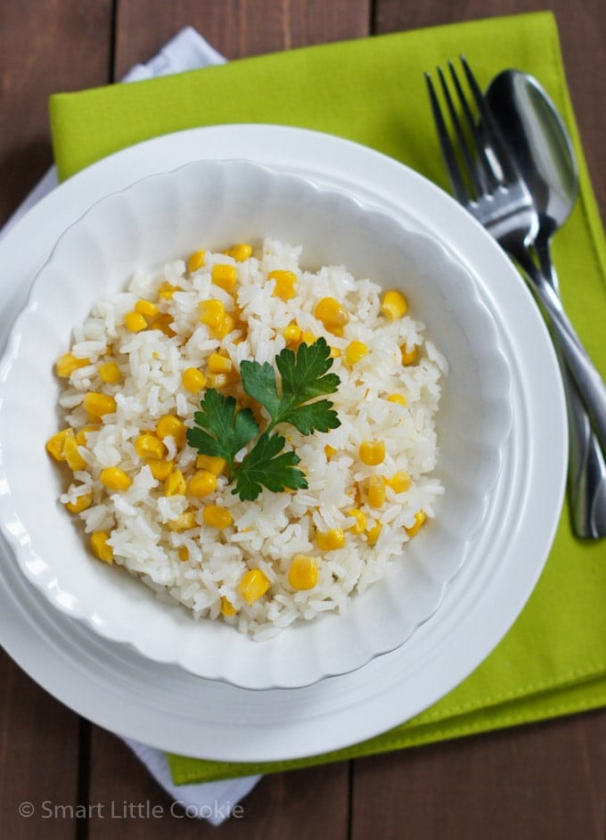Rice with Corn (Arroz con Maiz) served on a white place.