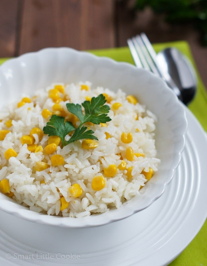 Rice with Corn served on a white bowl