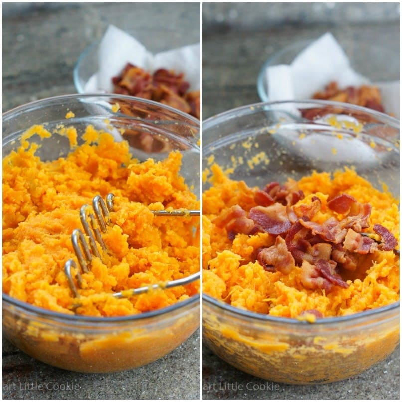 The sweet potato being mashed in a bowl and adding the bacon bits.