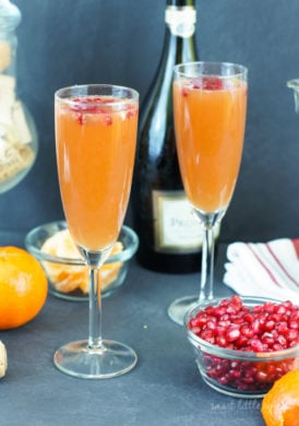 Quick and easy! This Tangerine Pomegranate Mimosa is the perfect cocktail for any festivity, made with three ingredients in only five minutes.