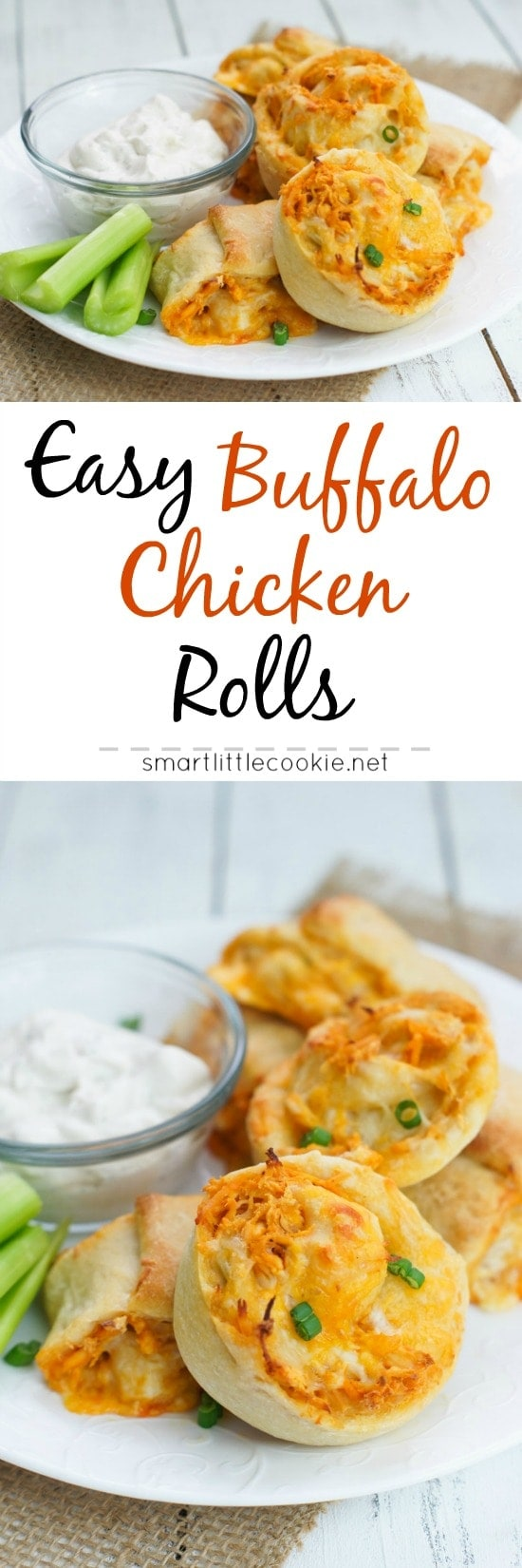 Pinterest image. Buffalo chicken rolls with text overlay.