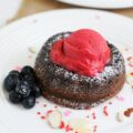 Chocolate Molten Lava Cake with Raspberry Sorbet