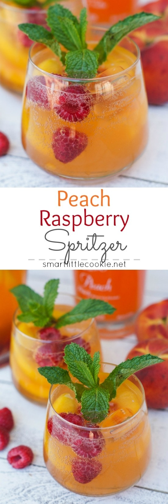 This Peach Raspberry Spritzer is the perfect summery drink for backyard gatherings, Sunday brunch or even friends' game night. The refreshing and delicious cocktail will be a hit among family and friends.