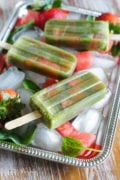 Healthy Spinach Watermelon Popsicles ~ Sweet, fruity, deliciously refreshing and healthy! The perfect summer afternoon snack for picky eaters.