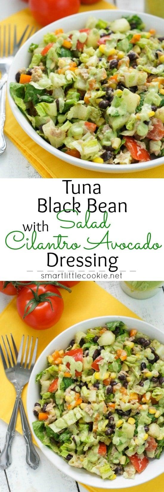 Pinterest graphic. Tuna black bean salad with text overlay.