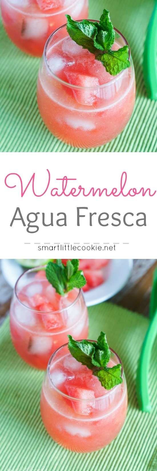 Pinterest graphic. Watermelon Agua fresca with text overlay.