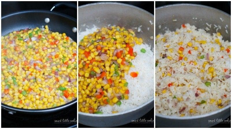 Three step by step photos to show how to make arroz primavera.