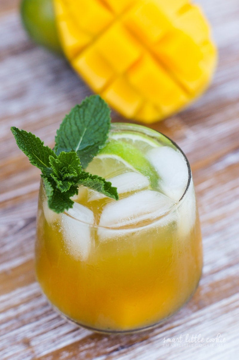 Get the flavors of the tropics with this Mango Mojito. Made with rum, mint, brown sugar, lime juice, mango nectar and seltzer water, it's the perfect cocktail for sipping by the pool.