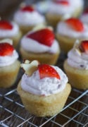 Strawberry Cheesecake Cookie Cups on a cooling rack.