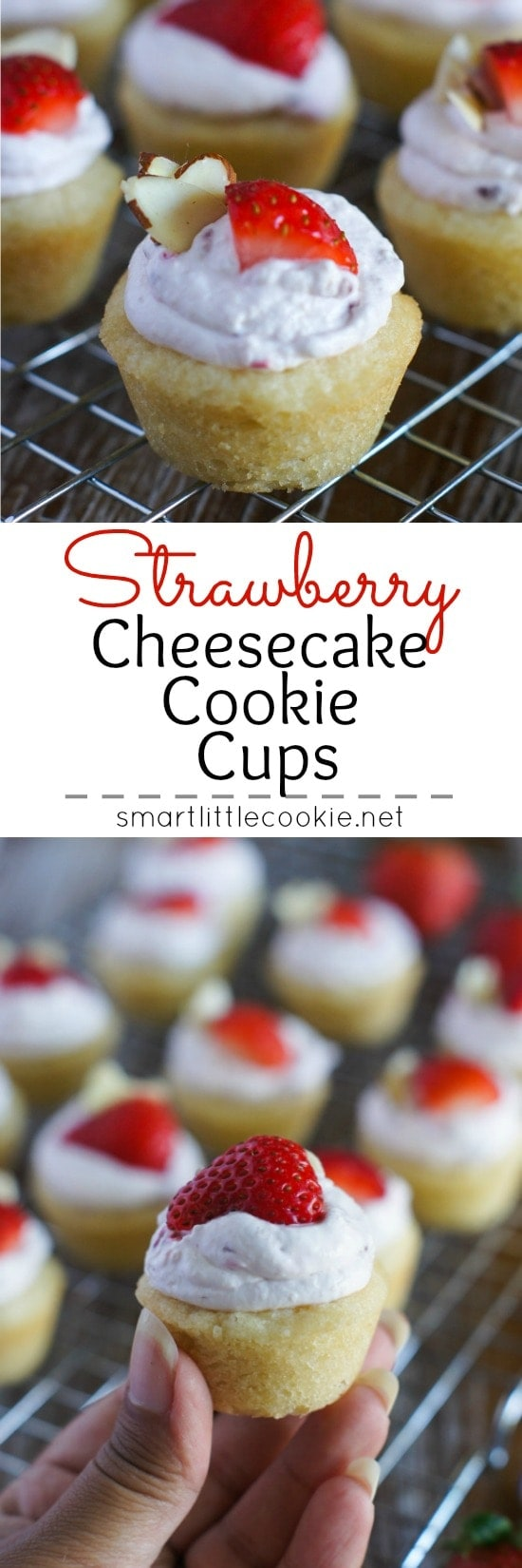 Pinterest graphic. Strawberry Cheesecake Cookie Cups with text overlay.