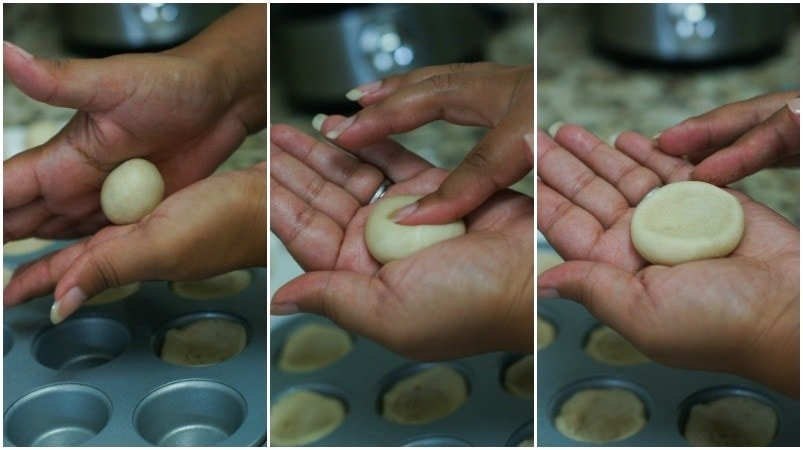 Step by step photos to show how to shape the dough.