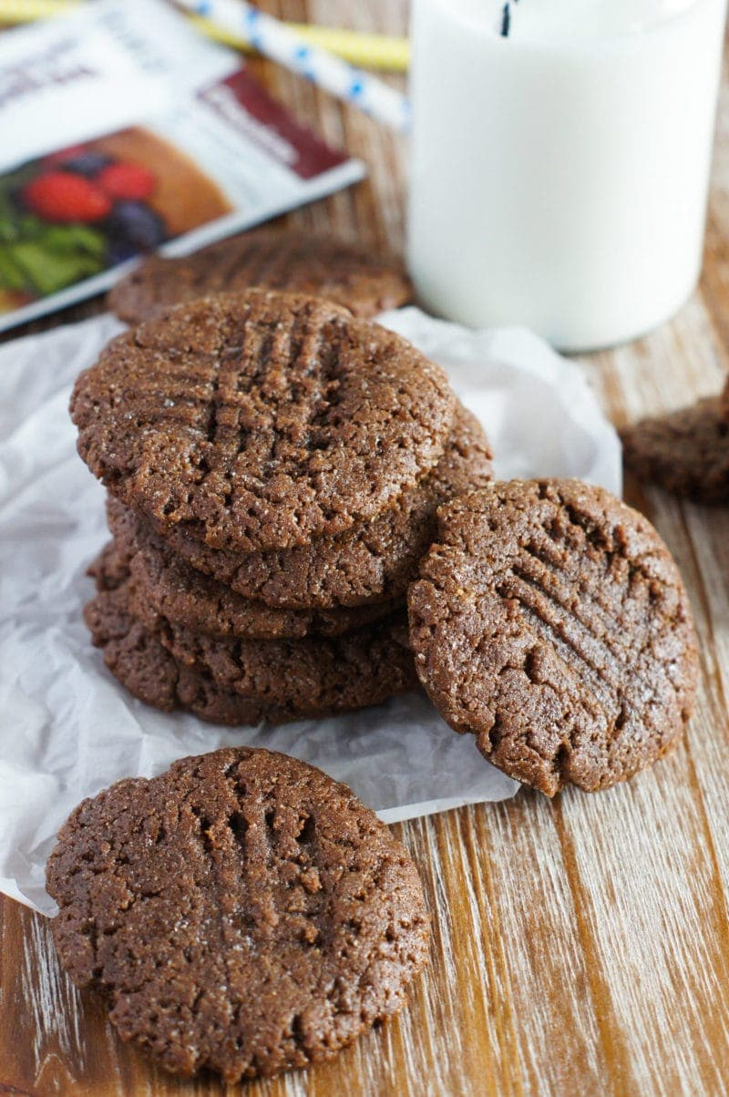 stacked flourless protein chocolate peanut butter cookies