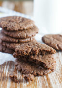Crispy on the outside and gooey on the inside, these flourless protein chocolate peanut butter cookies are a delicious protein pack treat to enjoy after a workout. mydominicankitchen.com #cookies #peanutbutter