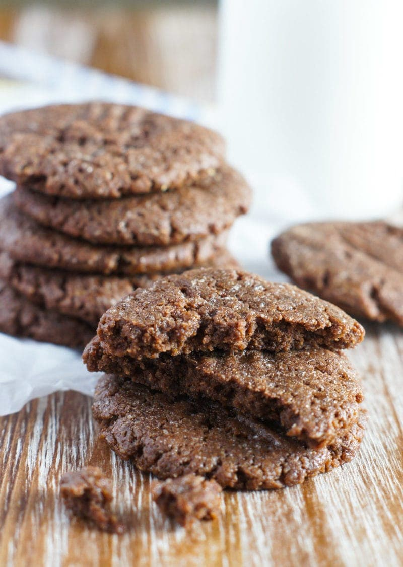 Crispy flourless protein chocolate peanut butter cookies on a board