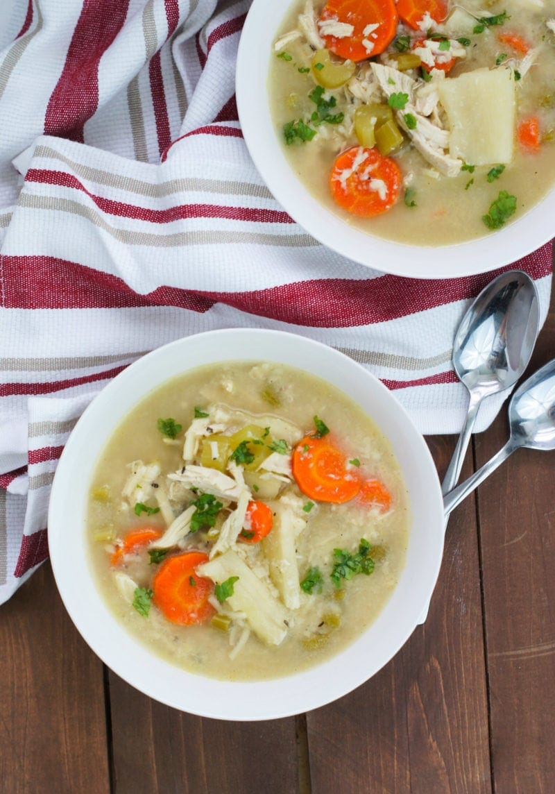 Slow Cooker Chicken Noodle Soup with Yuca ~ A hearty, comforting and delicious soup with tender chicken breast, cooked noodles and soft vegetables, just like the ones abuela made. #slowcooker #chickensoup