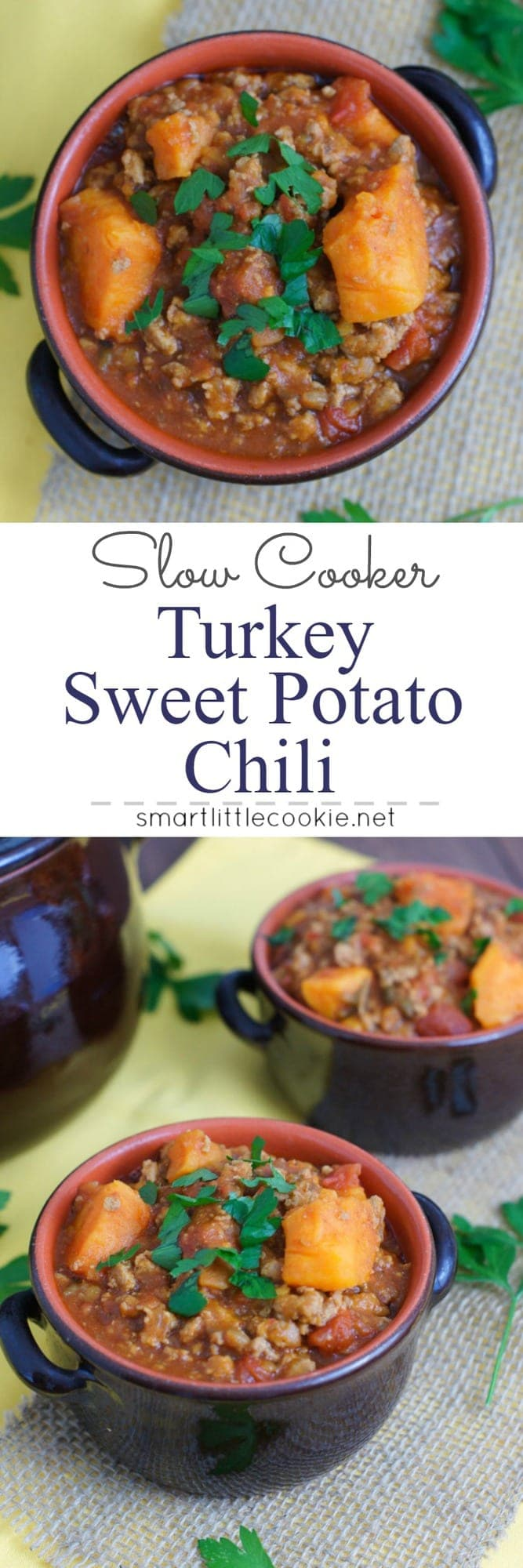 This delicious turkey and sweet potato chili is warm, comforting and made in the slow cooker for ease of cooking. The perfect meal for a chilly fall evening! #slowcooker #crockpot #chili