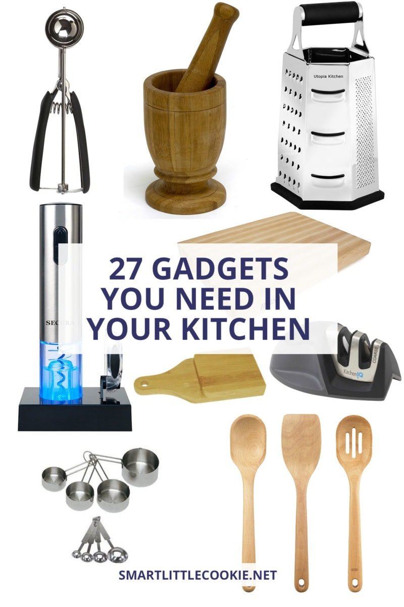 Pictures of kitchen utensils with text overlay.