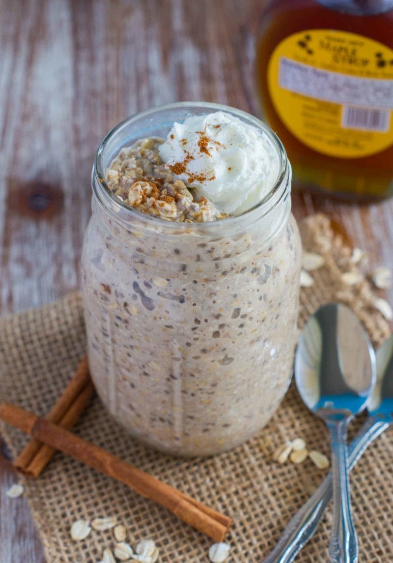 French Toast Overnight Oats served in a mason jar