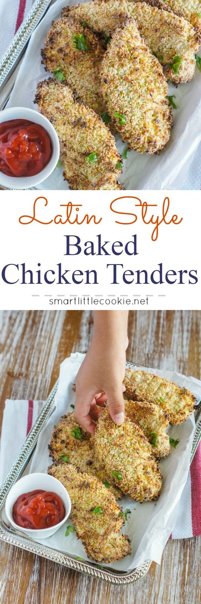 Pinterest graphic. Baked chicken tenders with text overlay.