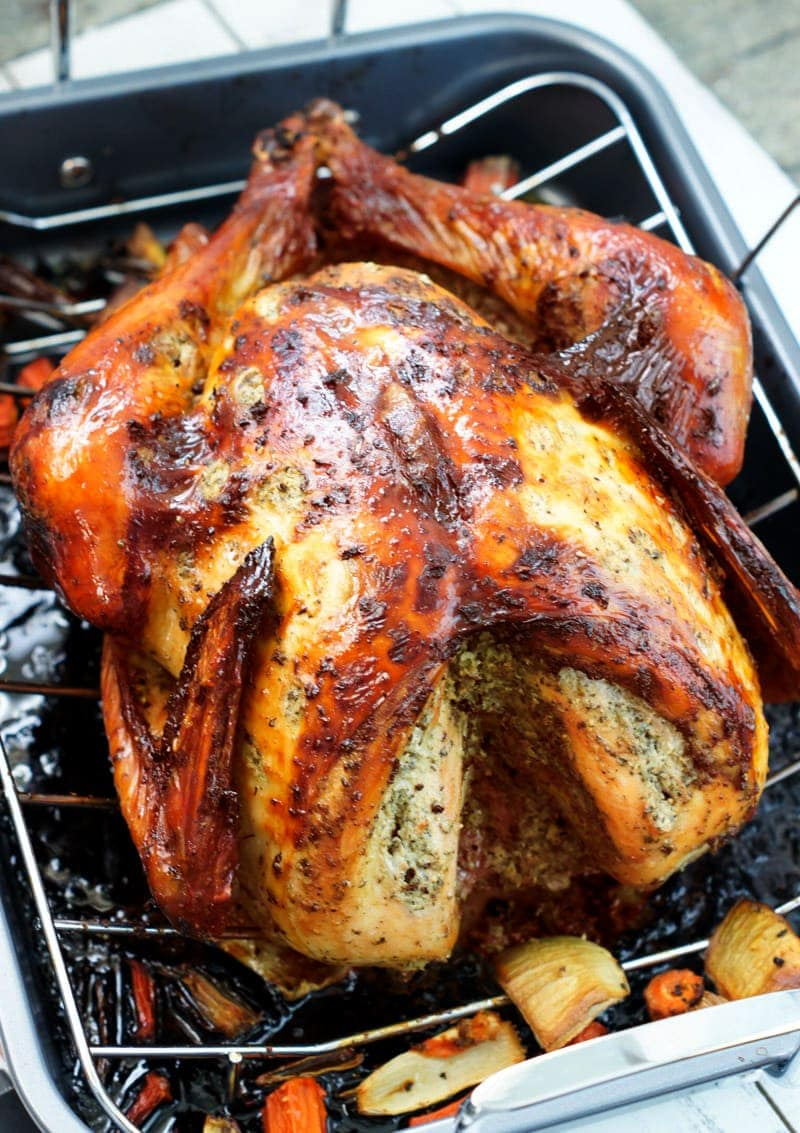 Cooked roast turkey on a roasting pan.