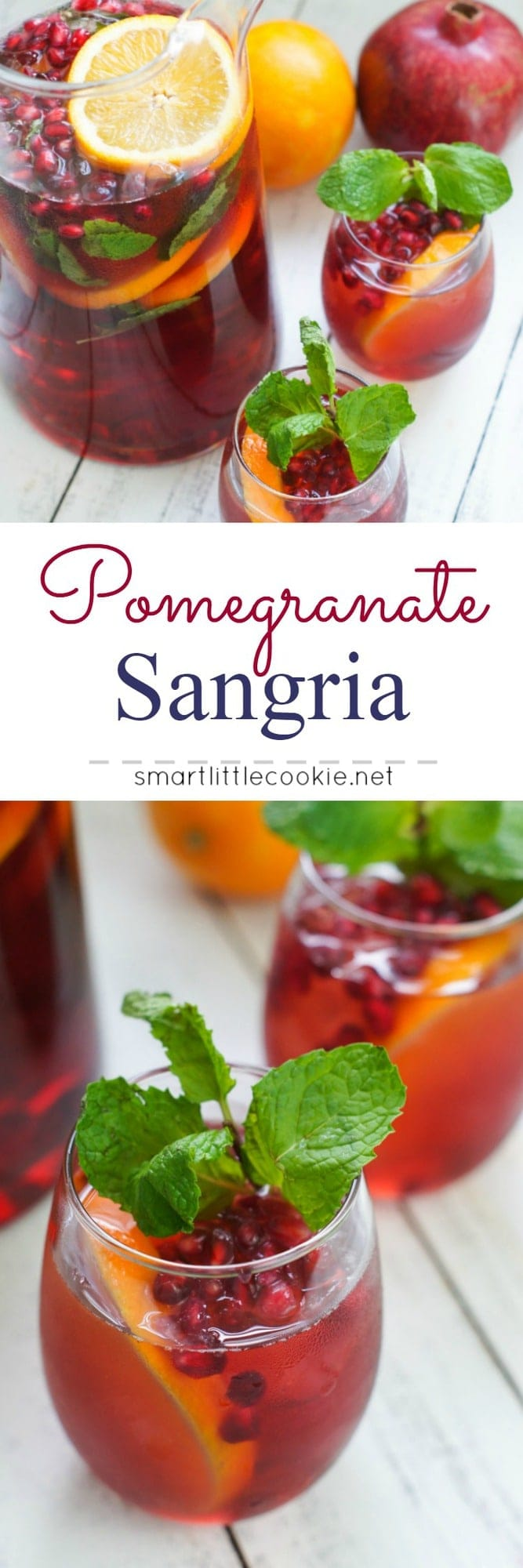 Pomegranate Holiday Sangria ~ Perfectly sweet with just the right fruit and wine combination, this Pomegranate Holiday Sangria is the perfect drink to serve at your holiday gathering.
