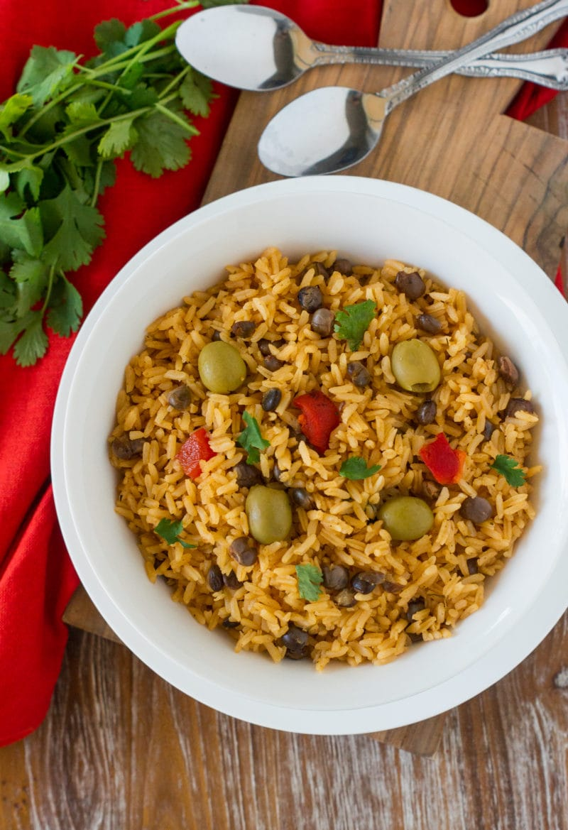 Arroz con Guandules (Pigeon Peas Rice) served on a white bowl