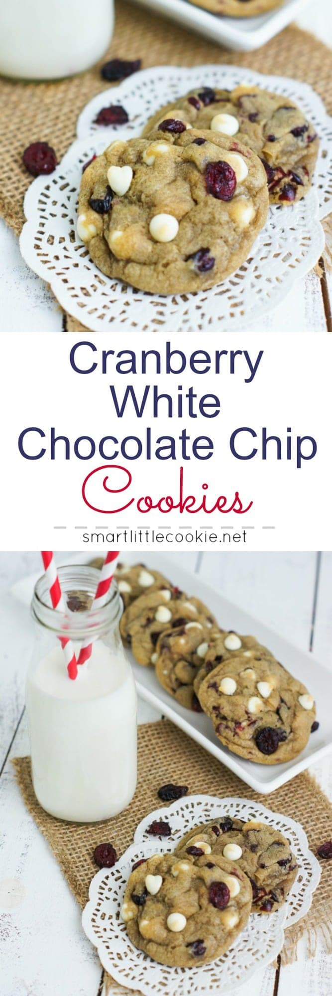 Easy to make and perfectly soft cranberry white chocolate chip cookies. mydominicankitchen.com #cookies
