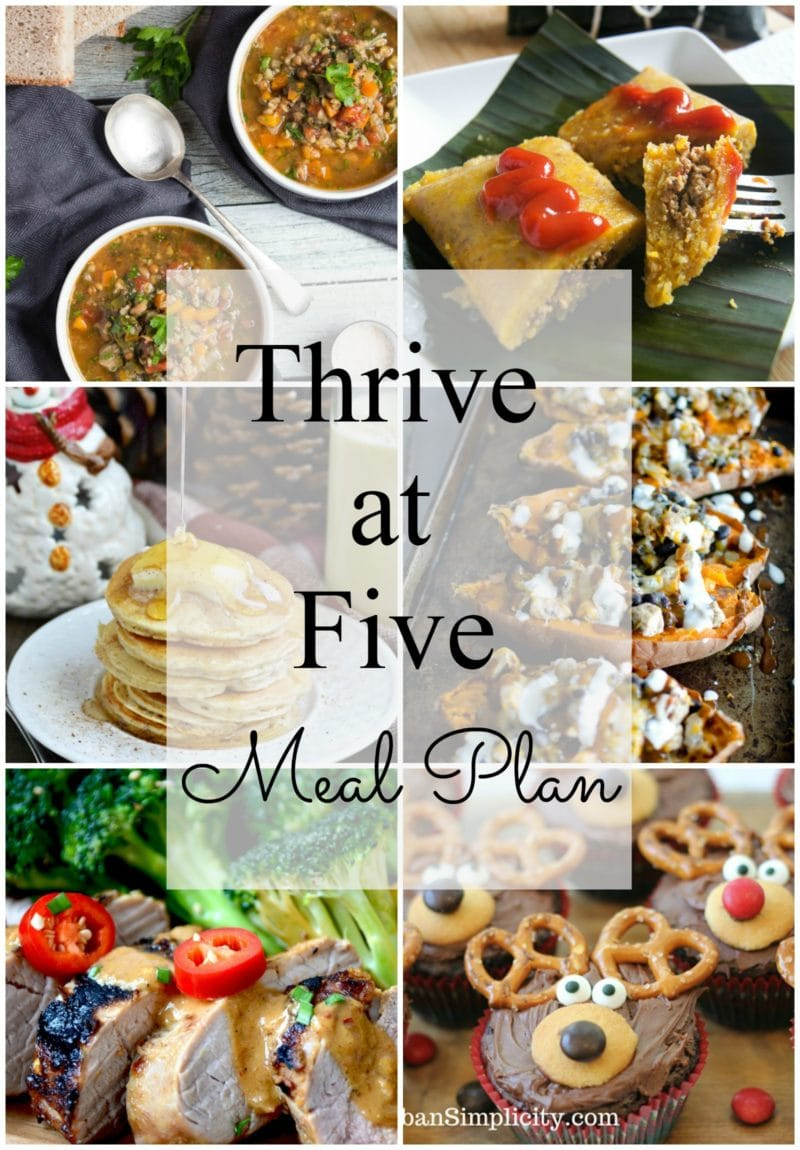 Thrive at Five Meal Plan – Week #5 ~ A weekly meal plan for busy parents. This week's plan features a unique sweet potato recipe, a traditional Latin holiday dish and a fluffy eggnog pancakes recipe for your holiday breakfast or brunch. smartlittlecookie.net #mealplan