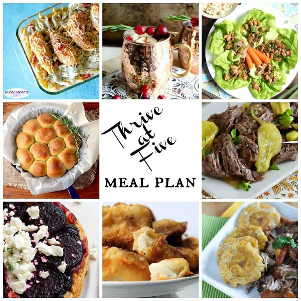 Thrive at Five Meal Plan – Week #4 ~ A weekly meal plan for busy parents. This week's plan features savory tarte tartin, a super tender chuck roast made on the crock-pot, a juicy beer battered cod and a festive sparkling sangria perfect for the holidays. smartlittlecookie.net #mealplan