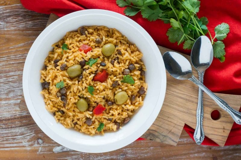 Arroz con Gandules (Pigeon Peas Rice) ready to eat