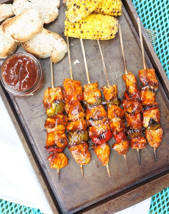 Perfectly charred with a smoky, sweet and spicy barbecue sauce, these Grilled Honey Chipotle Barbecue Chicken Skewers are perfect to share with friends on big game night. #BBQ #Superbowl smartlittlecookie.net