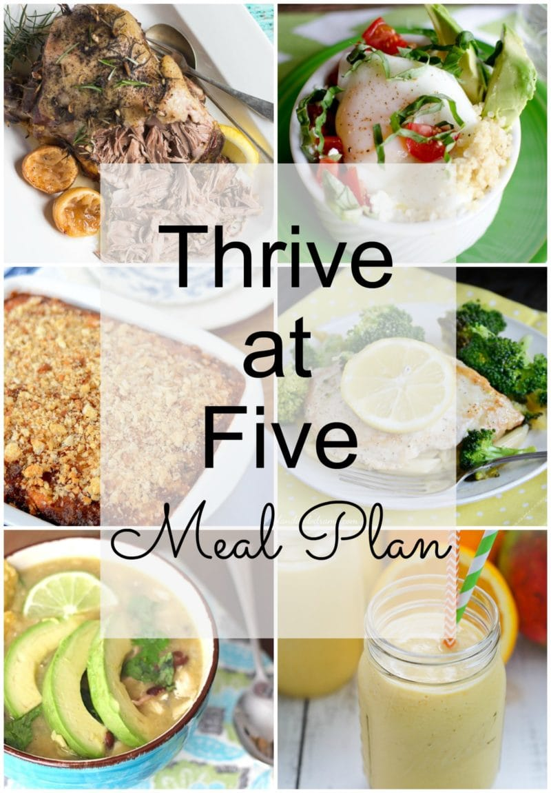 Thrive at Five Meal Plan – Week #11 ~ A weekly meal plan for busy parents. This week's meal plan features a chicken enchilada soup, a quinoa breakfast bowl, a chicken cordon blue pasta, an Italian vegetable casserole and even a healthy tropical smoothie. #mealplan smartlittlecookie.net