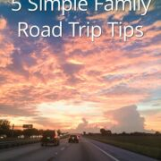 A picture of cars on a highway with text overlay '5 simple family road trip trips'.