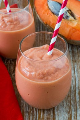 Healthy Mamey Smoothie ~ An easy tropical fruit smoothie with all the flavors of the traditional Mamey (Zapote) smoothie made healthier. #HealthySmoothie mydominicankitchen.com