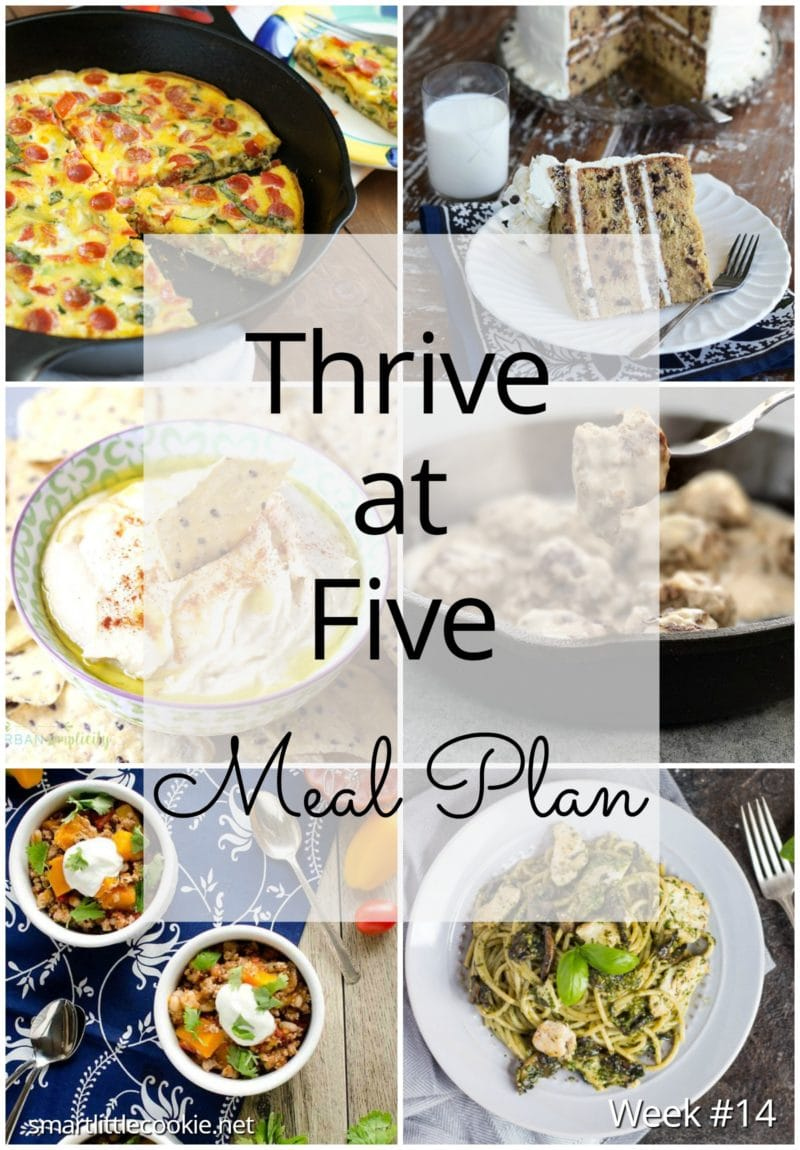 Thrive at Five Meal Plan – Week #14 ~ A weekly meal plan for busy parents. This week's meal plan features a delicious Swedish Meatballs dish, and instant pot turkey chili, a pepperoni vegetables frittata, a chicken and mushrooms pesto pasta, a citrus chicken soup, a yummy chocolate chip cookie cake and a homemade hummus perfect for snack time. #mealplan smartlittlecookie.net